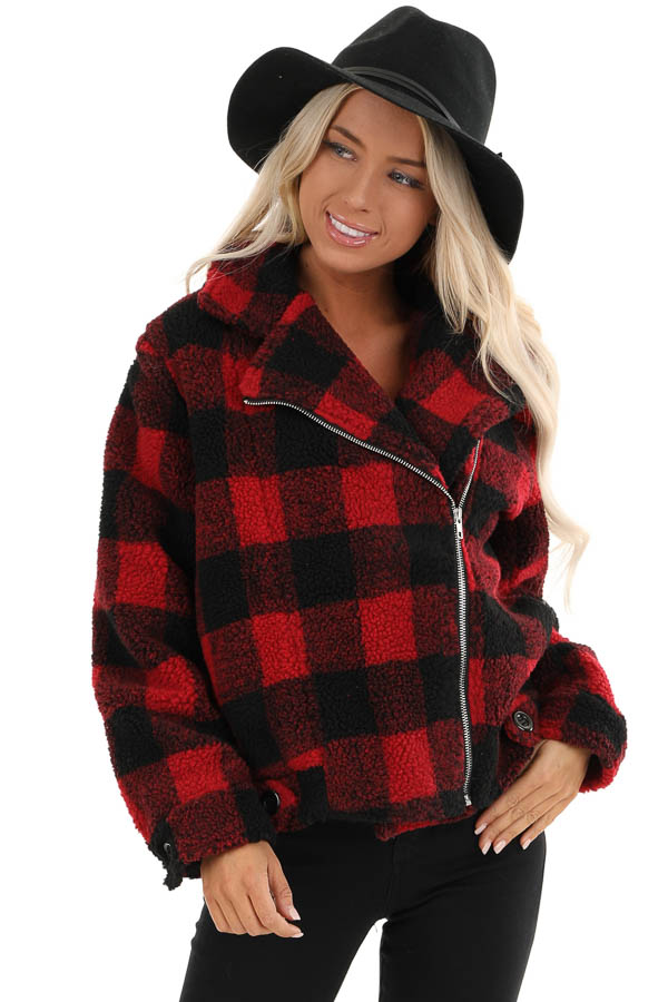 Ruby Red And Black Buffalo Plaid Fleece Jacket Lime Lush