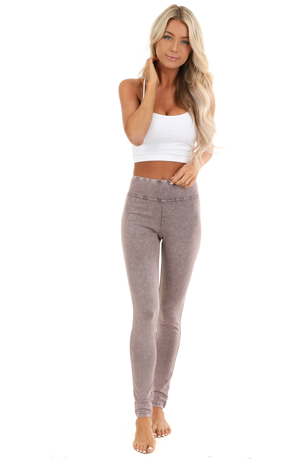 Faded Plum Athletic Leggings with Crochet Lace Back Details front full body