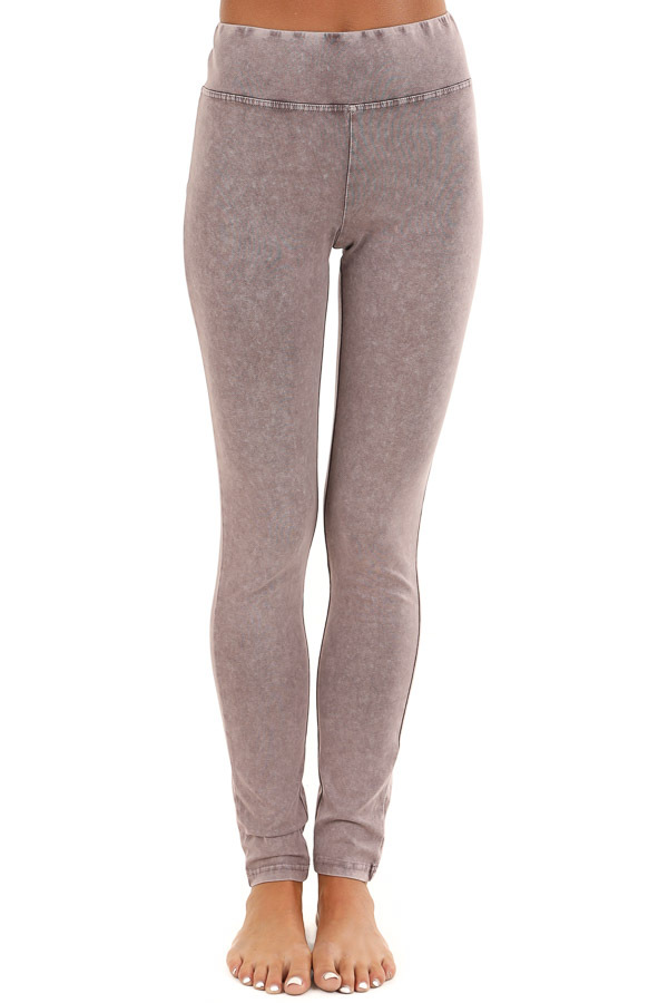 Faded Plum Athletic Leggings with Crochet Lace Back Details front view