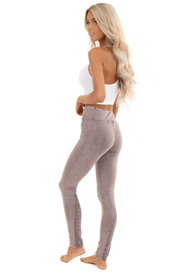 Faded Plum Athletic Leggings with Crochet Lace Back Details side full body