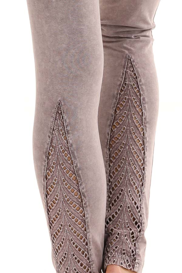 Faded Plum Athletic Leggings with Crochet Lace Back Details detail