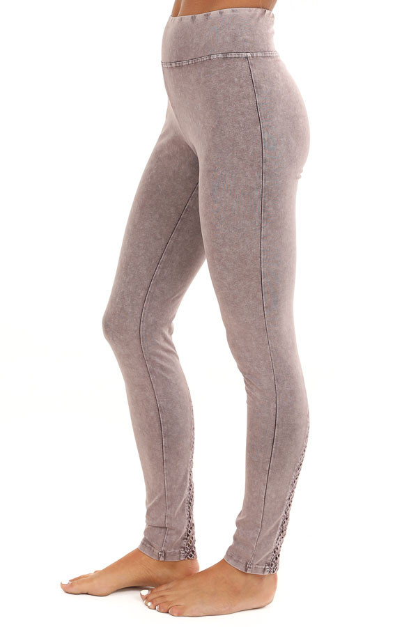 Faded Plum Athletic Leggings with Crochet Lace Back Details side view