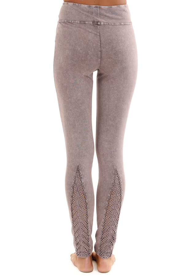 Faded Plum Athletic Leggings with Crochet Lace Back Details back view
