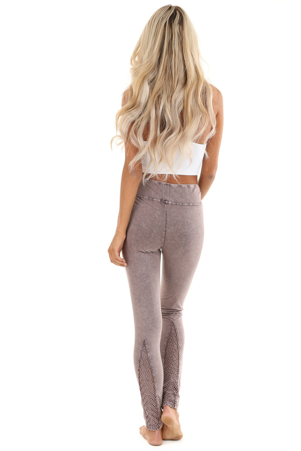 Faded Plum Athletic Leggings with Crochet Lace Back Details back full body