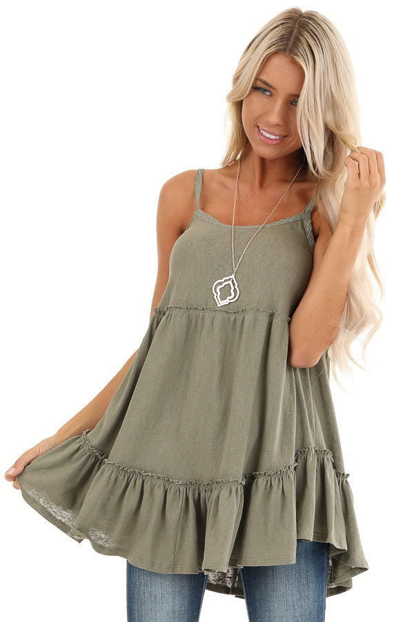 Sage Green Ruffle Tank Top with Lace Straps front close up