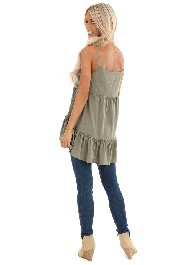 Sage Green Ruffle Tank Top with Lace Straps back full body