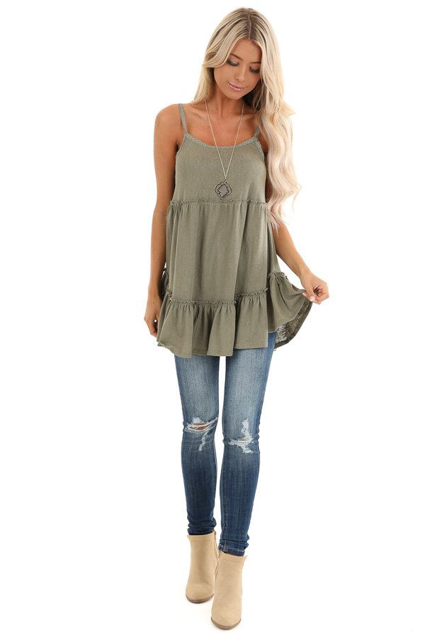 Sage Green Ruffle Tank Top with Lace Straps front full body