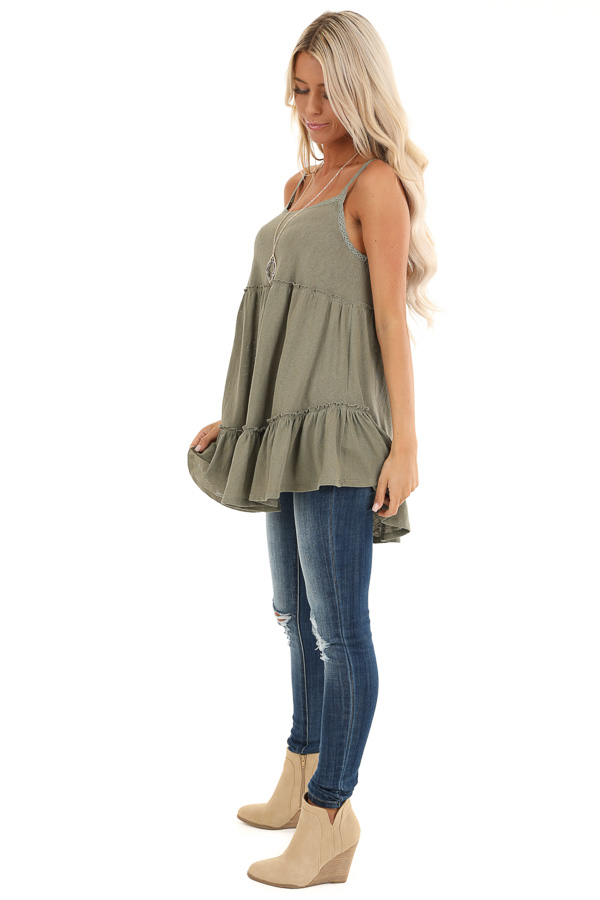 Sage Green Ruffle Tank Top with Lace Straps side full body