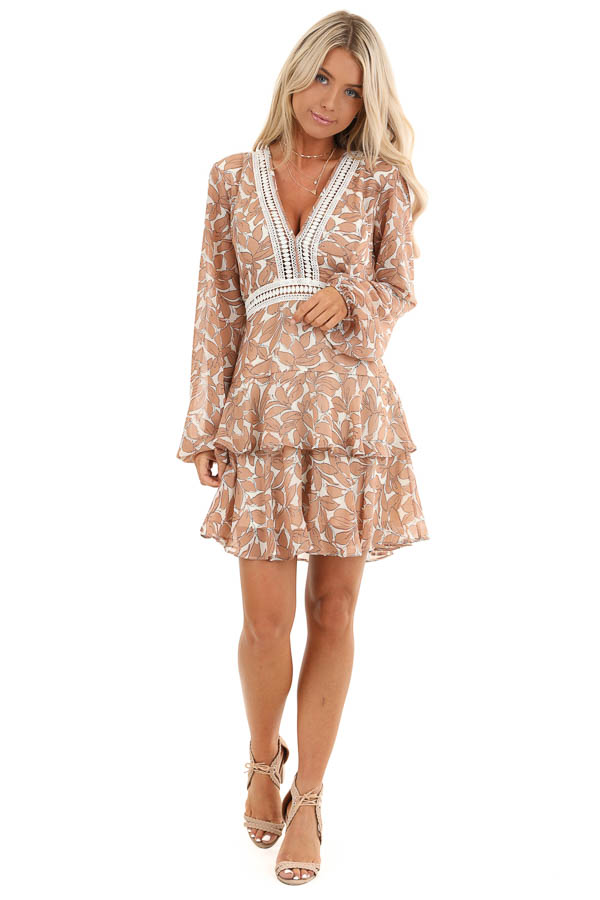 Smoked Salmon and Ivory Floral Print Ruffle Mini Dress front full body