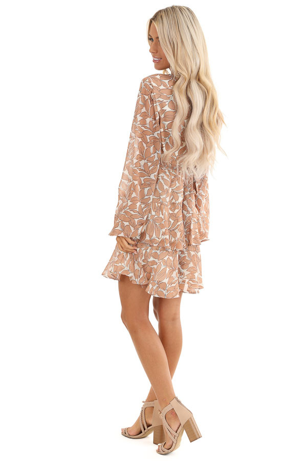 Smoked Salmon and Ivory Floral Print Ruffle Mini Dress side full body