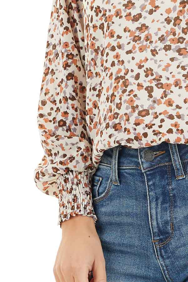 Ivory Floral Print Mock Neck Long Sleeve Semi Sheer Top detail
