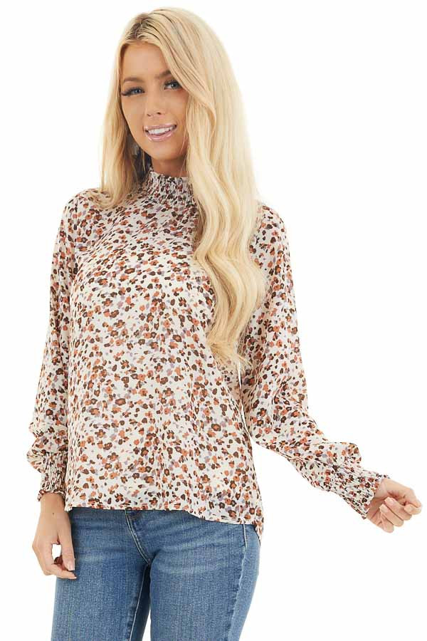 Ivory Floral Print Mock Neck Long Sleeve Semi Sheer Top front close up