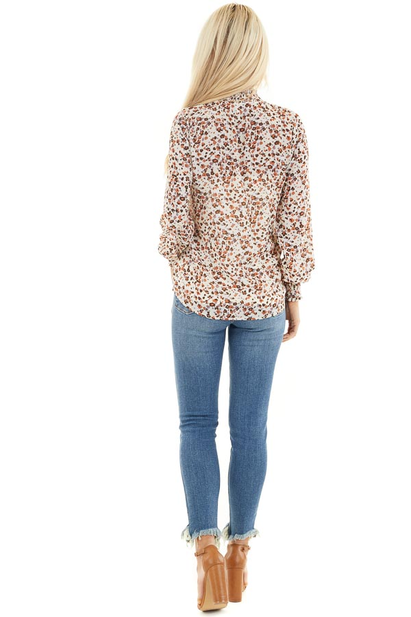 Ivory Floral Print Mock Neck Long Sleeve Semi Sheer Top back full body