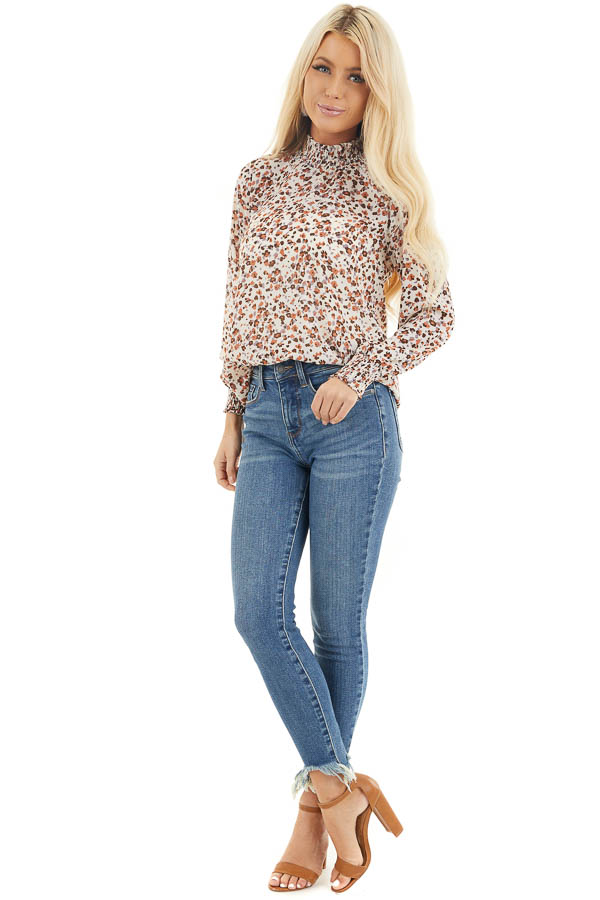 Ivory Floral Print Mock Neck Long Sleeve Semi Sheer Top front full body