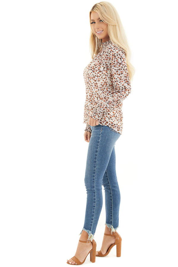 Ivory Floral Print Mock Neck Long Sleeve Semi Sheer Top side full body