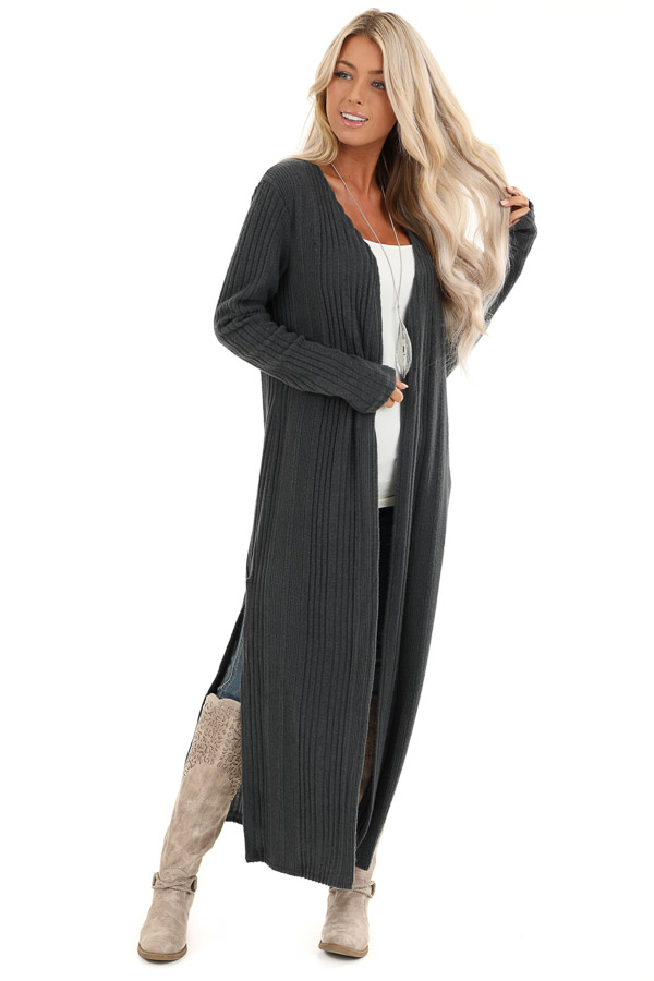 Charcoal Long Open Front Ribbed Cardigan with Side Slits front full body