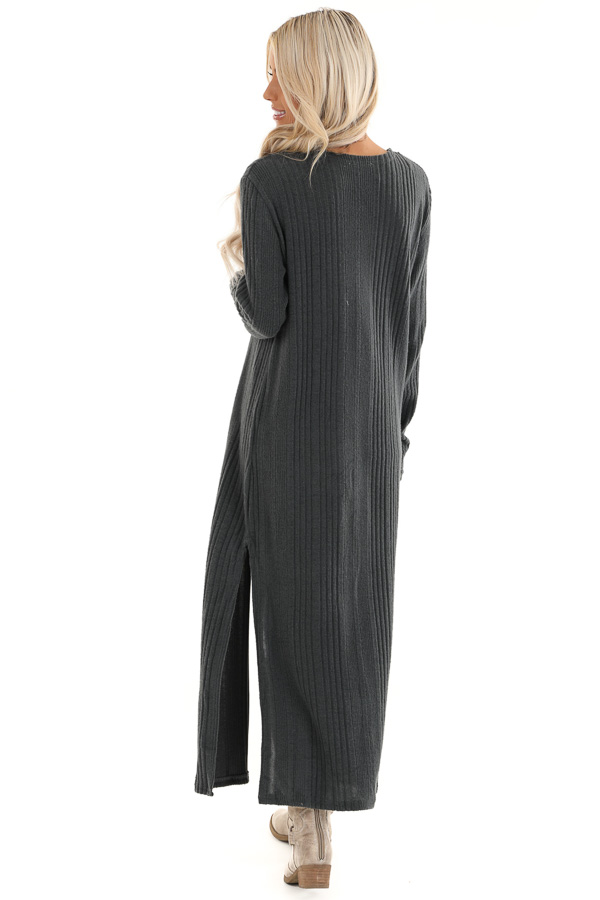 Charcoal Long Open Front Ribbed Cardigan with Side Slits back full body