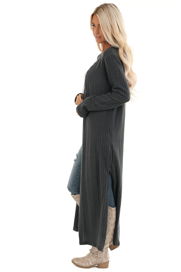 Charcoal Long Open Front Ribbed Cardigan with Side Slits side full body