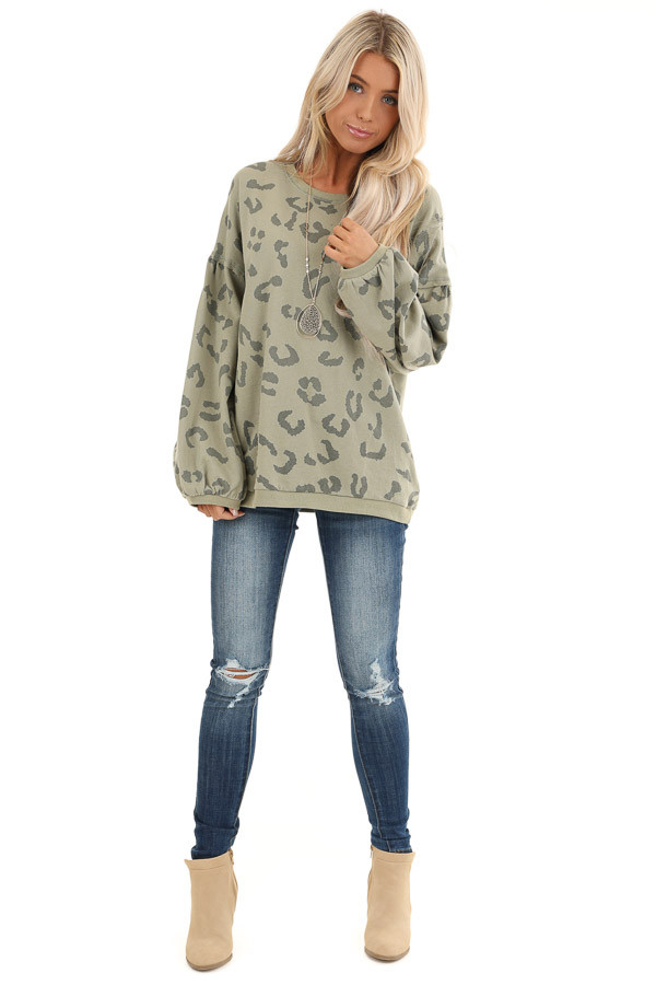 Light Green Leopard Print Sweatshirt with Rounded Neckline front full body