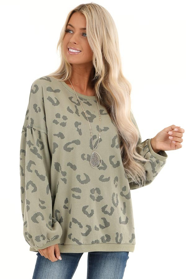 Light Green Leopard Print Sweatshirt with Rounded Neckline front close up