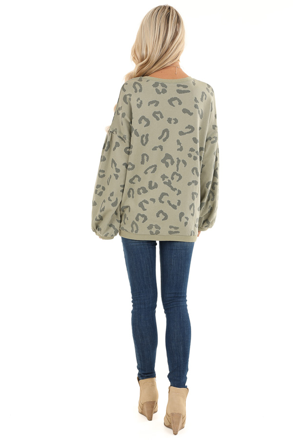 Light Green Leopard Print Sweatshirt with Rounded Neckline back full body