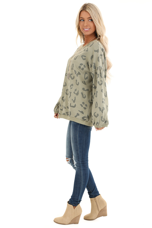 Light Green Leopard Print Sweatshirt with Rounded Neckline side full body
