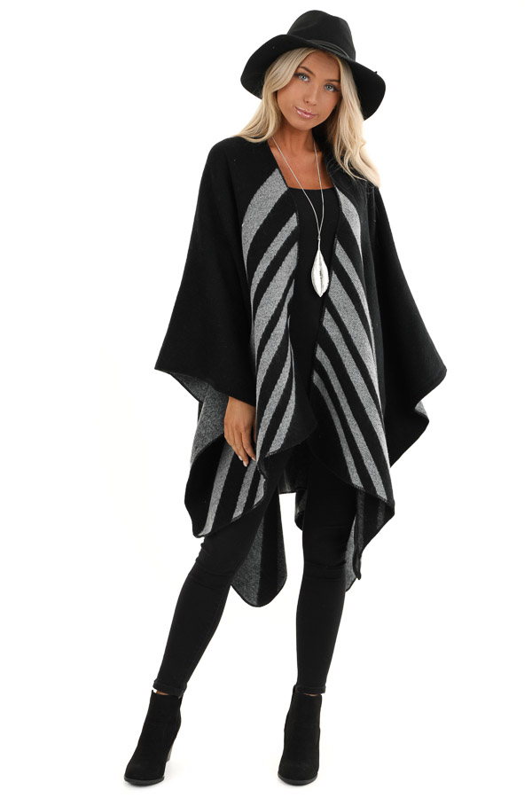 Black with Cloud Grey Stripes Poncho Wrap front full body