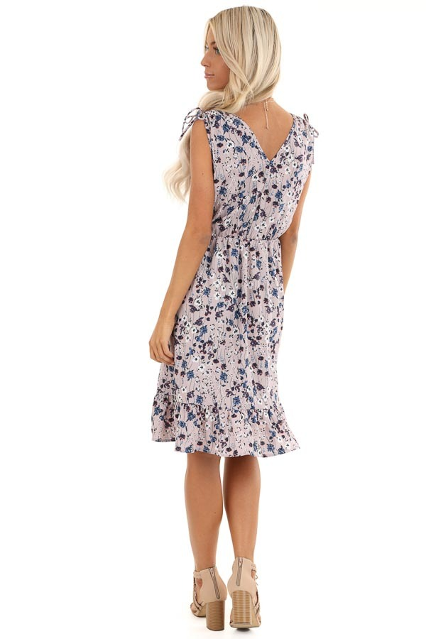 Lilac and Navy Floral Print Sleeveless Dress back full body