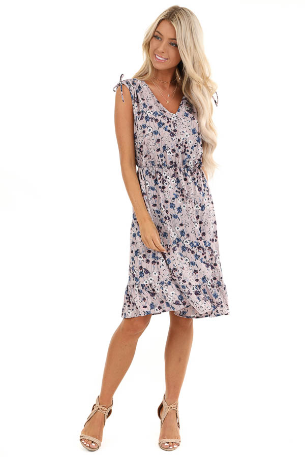 Lilac and Navy Floral Print Sleeveless Dress front full body