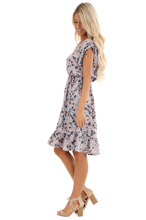 Lilac and Navy Floral Print Sleeveless Dress side full body