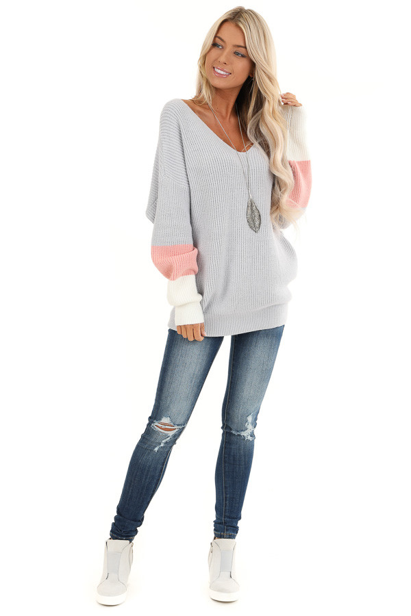 Pale Grey V Neck Top with Color Block Back Twist Detail front full body