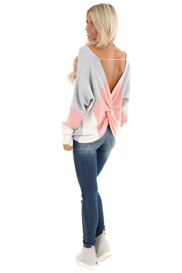 Pale Grey V Neck Top with Color Block Back Twist Detail back full body