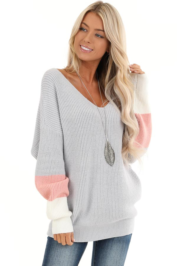 Pale Grey V Neck Top with Color Block Back Twist Detail front close up