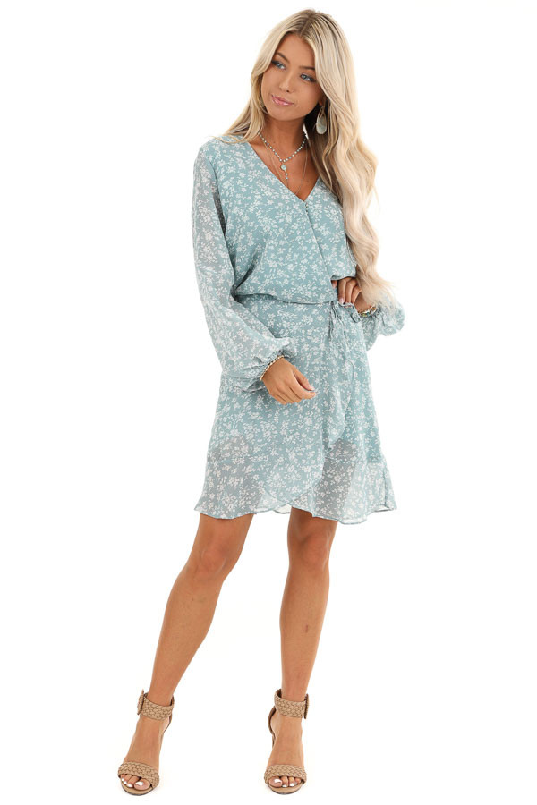 Antique Blue Floral Print Long Sleeve Dress with V Neckline front full body