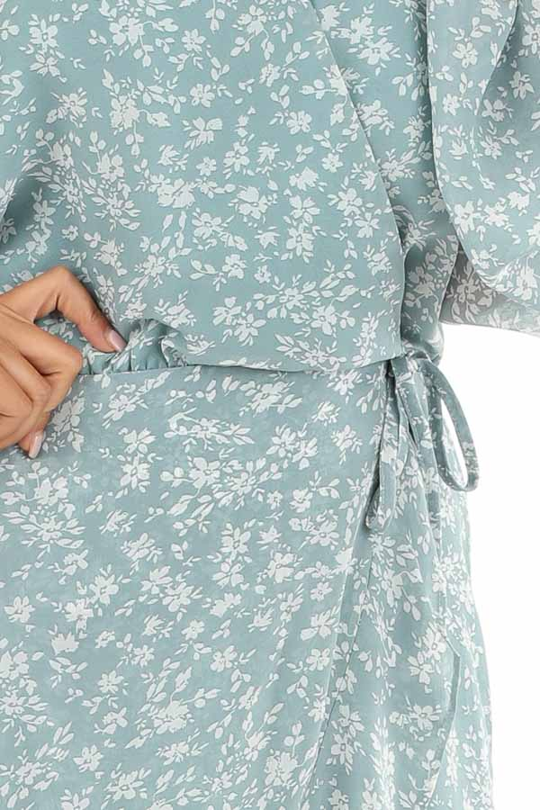 Antique Blue Floral Print Long Sleeve Dress with V Neckline detail