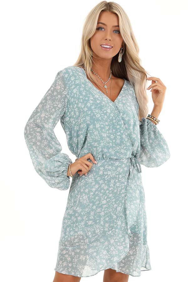 Antique Blue Floral Print Long Sleeve Dress with V Neckline front close up