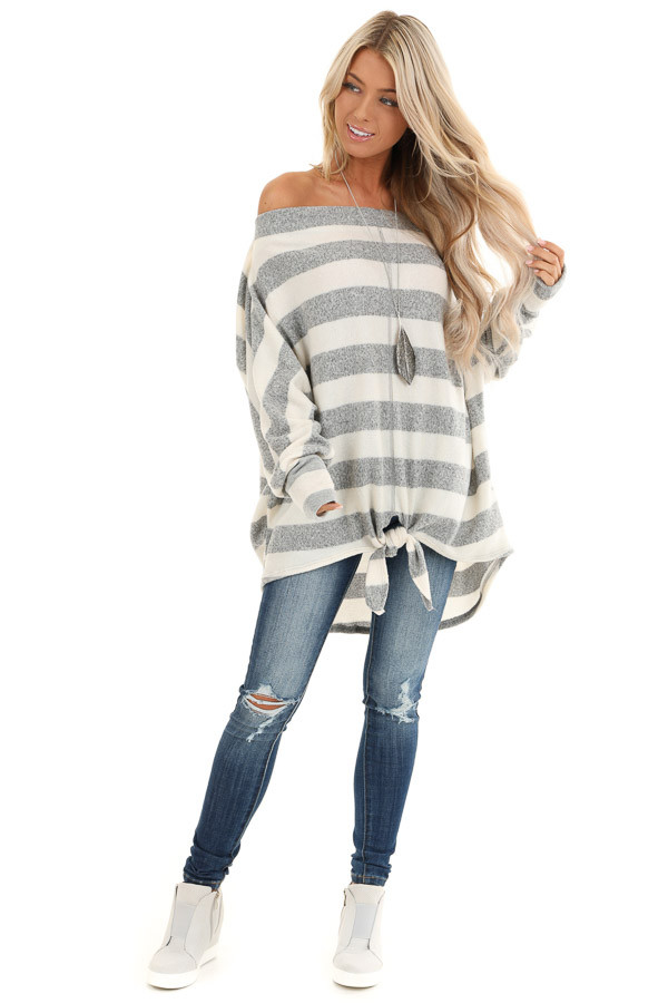 Grey and White Striped Off the Shoulder Top front full body