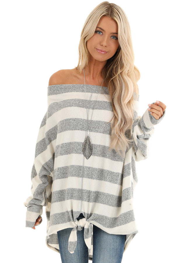 Grey and White Striped Off the Shoulder Top front close up