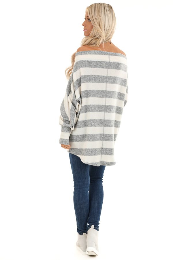 Grey and White Striped Off the Shoulder Top back full body