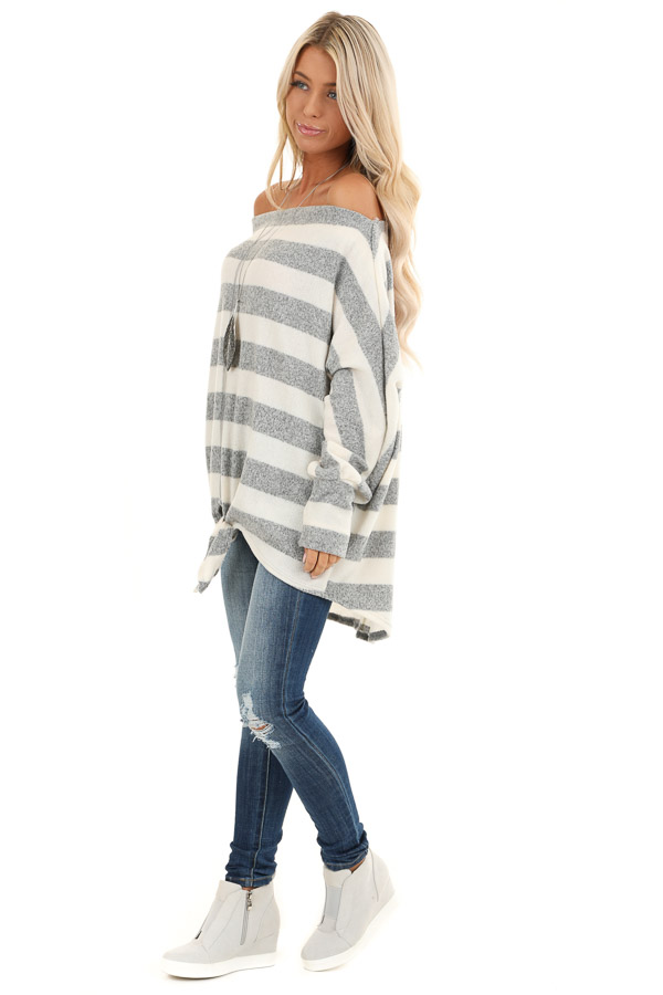Grey and White Striped Off the Shoulder Top side full body