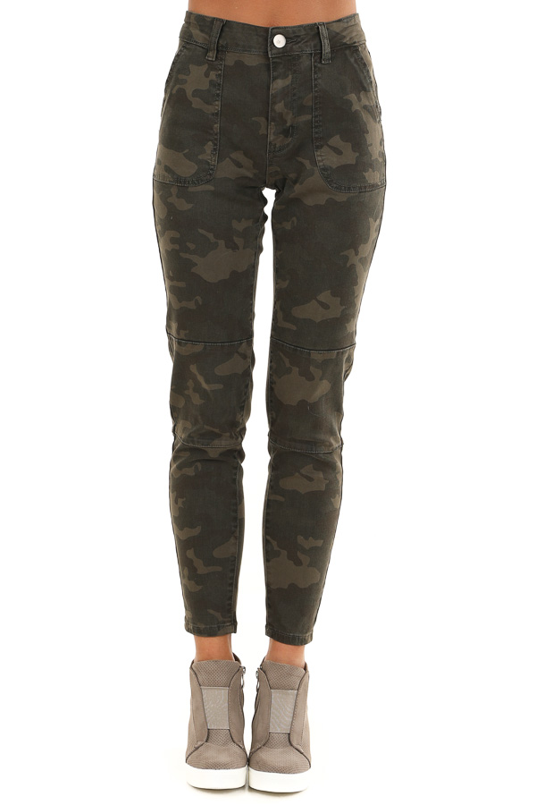 Dark Green and Khaki Camo Print Pants front view