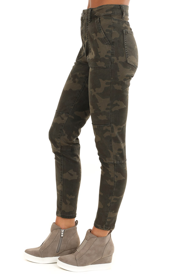 Dark Green and Khaki Camo Print Pants side view