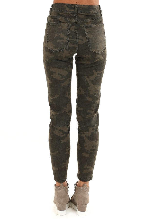 Dark Green and Khaki Camo Print Pants back view