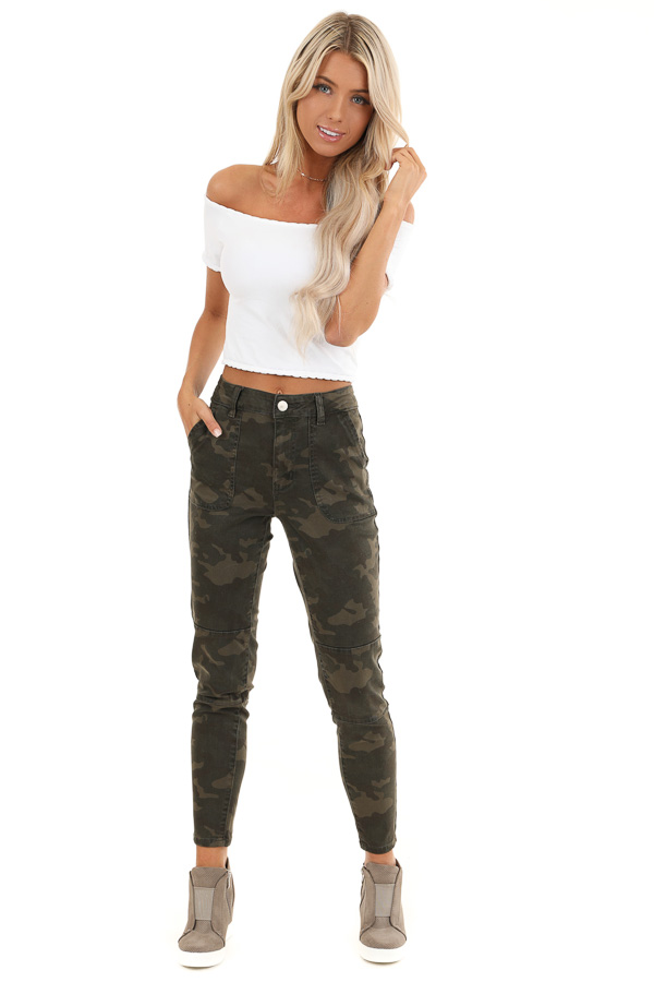 Dark Green and Khaki Camo Print Pants front full body