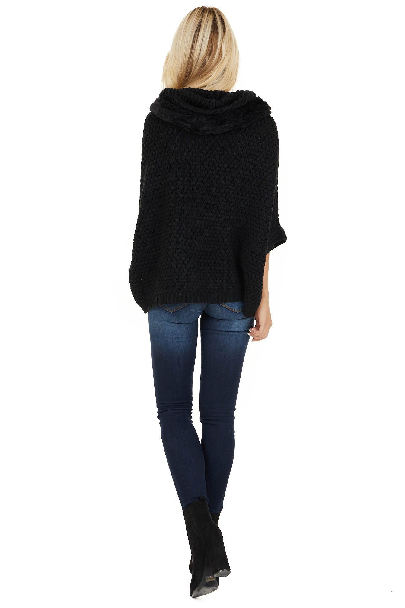 Black Short Sleeve Knit Jacket with Faux Fur Lined Hood back full body