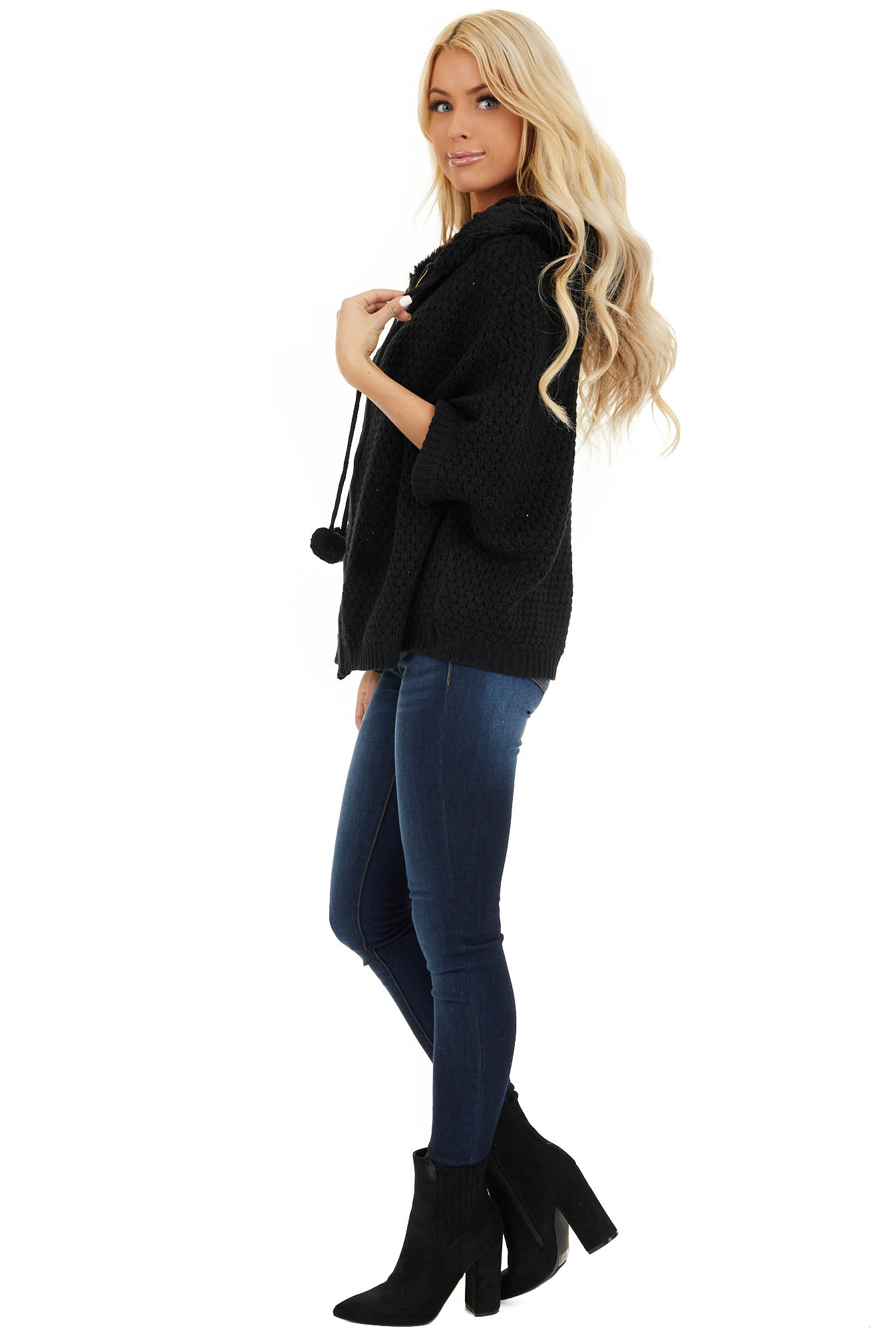 Black Short Sleeve Knit Jacket with Faux Fur Lined Hood side full body