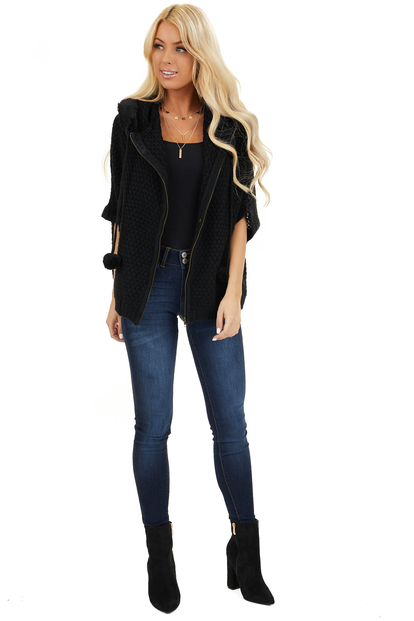 Black Short Sleeve Knit Jacket with Faux Fur Lined Hood front full body