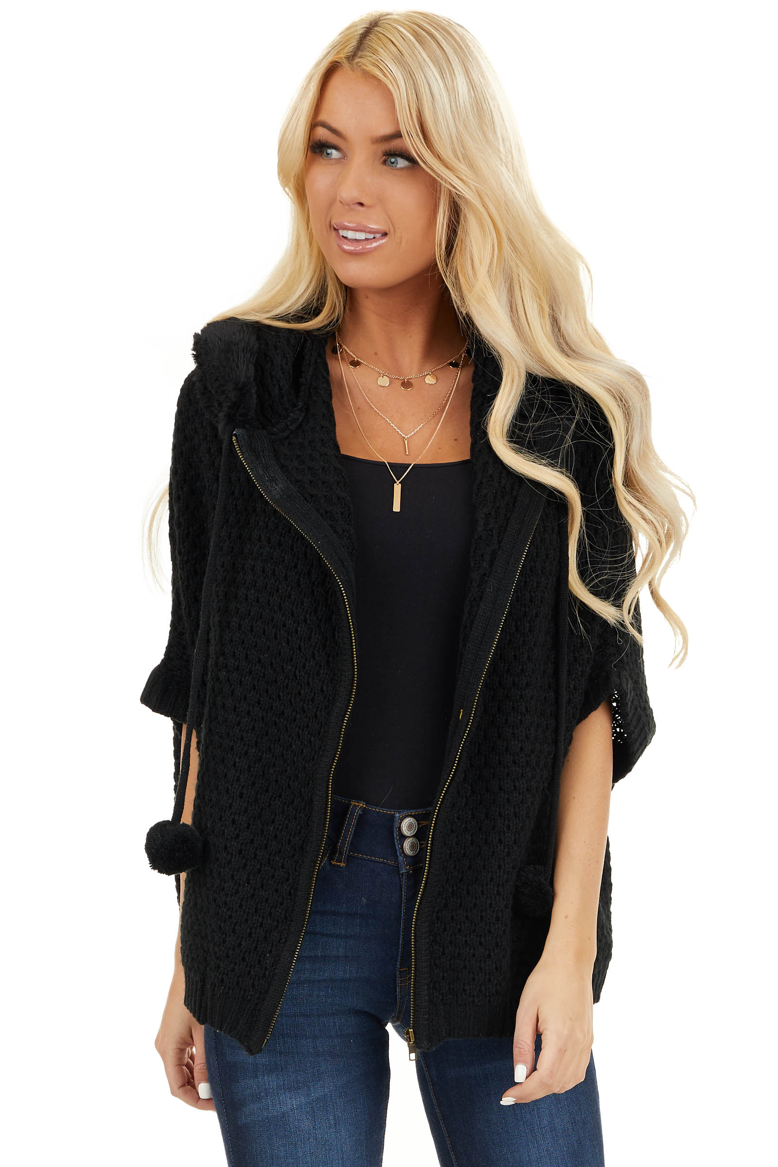 Black Short Sleeve Knit Jacket with Faux Fur Lined Hood front close up