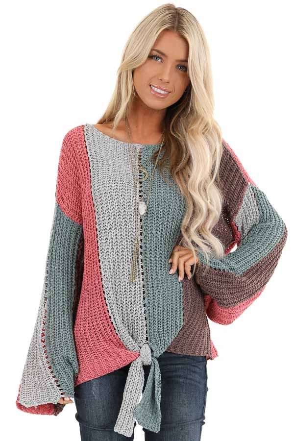 Teal and Pink Striped Knit Sweater Top with Flare Sleeves front close up