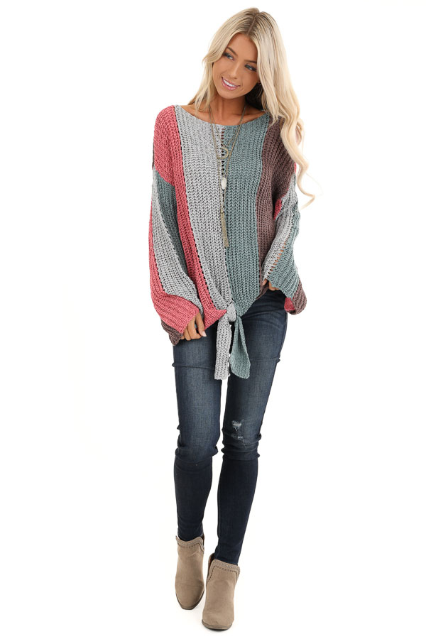 Teal and Pink Striped Knit Sweater Top with Flare Sleeves front full body